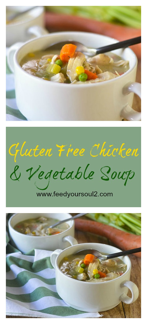 Gluten Free Creamy Chicken Vegetable Soup #soup #chicken #creamy #glutenfree | feedyoursoul2.com