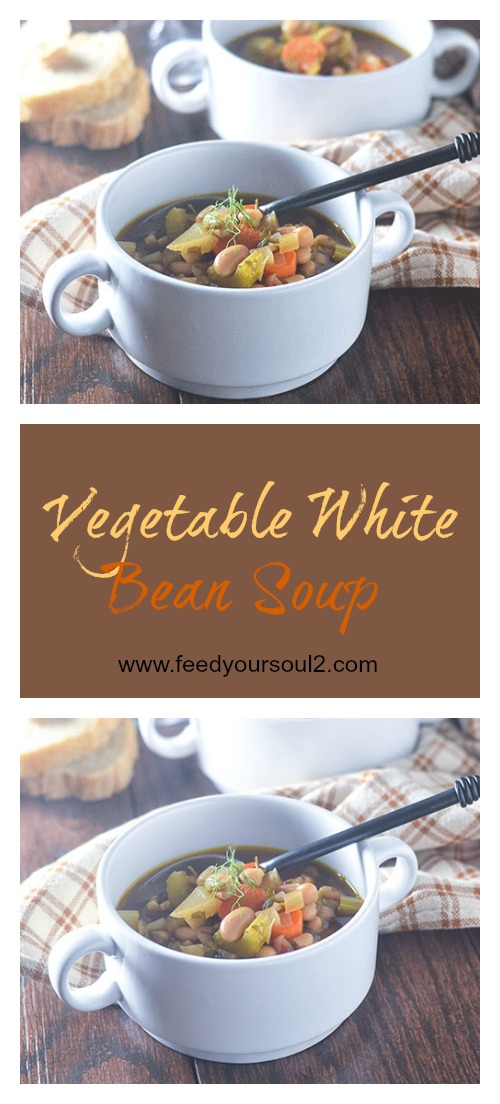 Vegetable White Bean Soup #Soup #vegetables #beans #glutenfree | feedyoursoul2.com