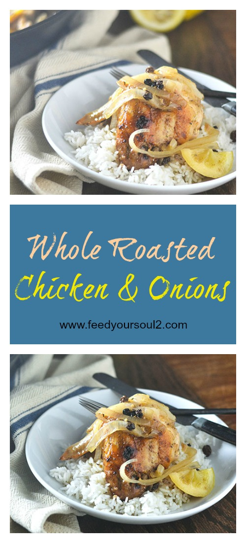 Whole Roasted Lemon Chicken & Onions #chickenrecipes #lemons #castironskillet #glutenfree | feedyoursoul2.com