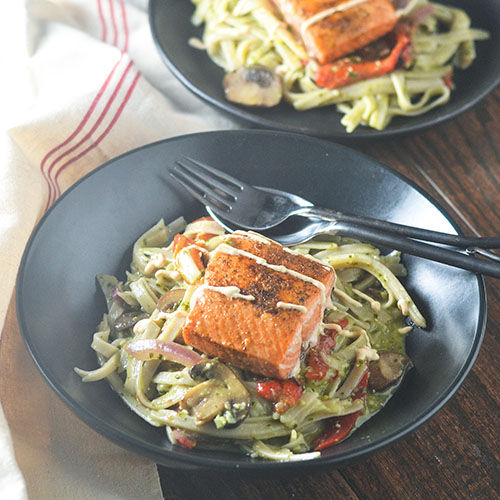 Salmon over Creamy Pesto GF Pasta from Feed Your Soul Too