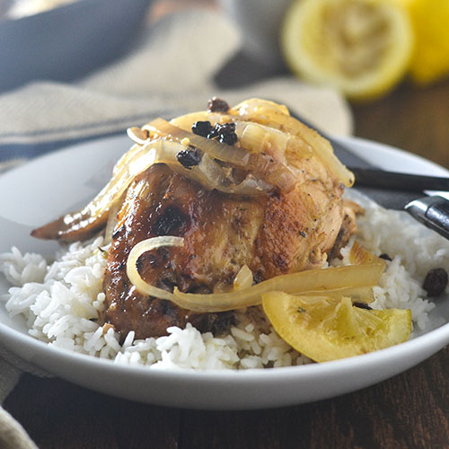 Whole Roasted Lemon Chicken & Onions from Feed Your Soul Too