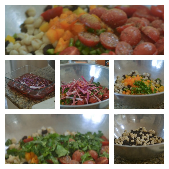 Assembling of the Hominy Black Bean Salad