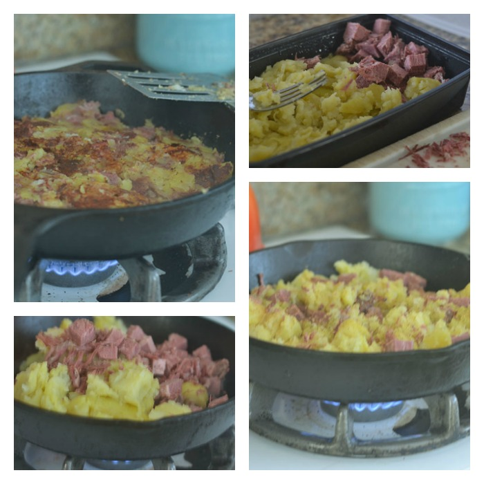 Cooking the Corned Beef Hash in the Cast Iron Skillet