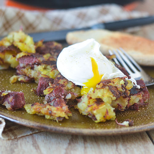 Corned Beef Hash Topped with Poached Egg from Feed Your Soul Too