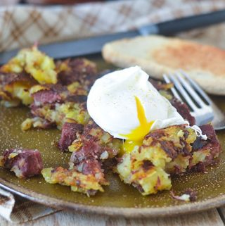 Corned Beef Hash Topped with Poached Egg