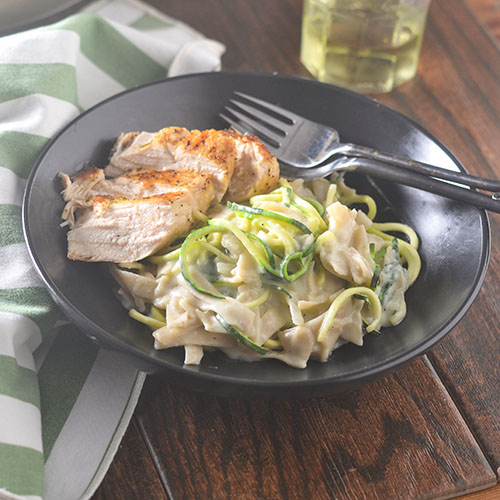 GF Brie Mozzarella Fettuccini Zoodles from Feed Your Soul Too