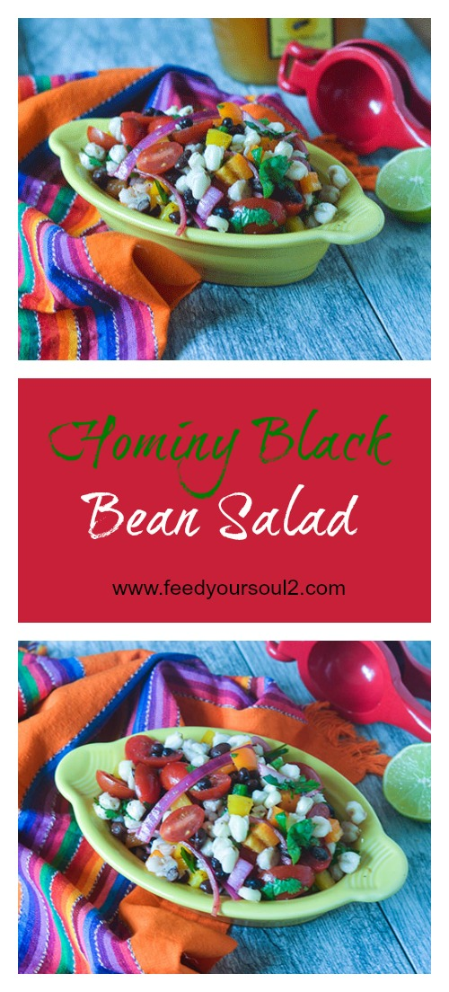 Hominy Black Bean Salad #saladecipes #hominy #Mexicanrecipes #glutenfree | feedyoursoul2.com
