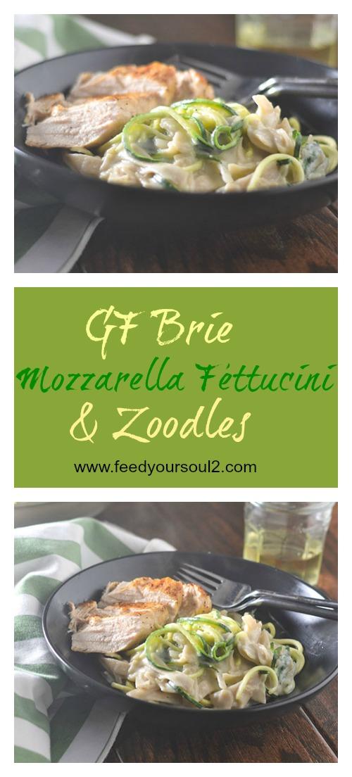 GF Brie Mozzarella Fettuccini Zoodles #zoodles #pasta #cheese #glutenfree | feedyoursoul2.com