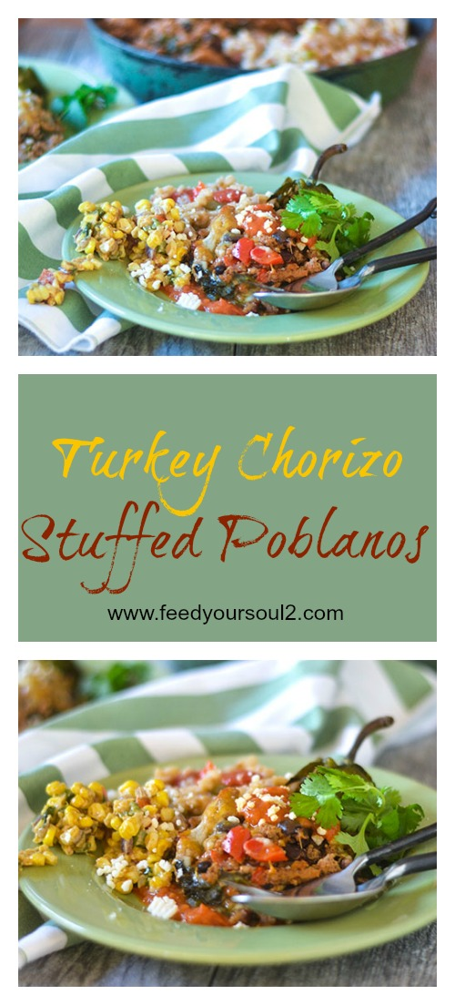 Turkey Chorizo Stuffed Poblanos #turkeyrecipes #poblanos #Mexicanrecipes #glutenfree | feedyoursoul2.com