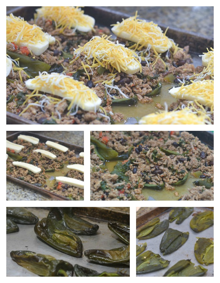 Prepping and Stuffing of the Poblanos