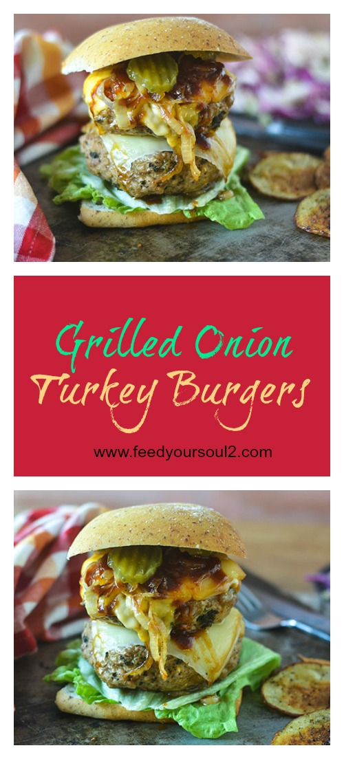 Grilled Onion Turkey Burger #burgers #onions #cheese #glutenfree | feedyoursoul2.com