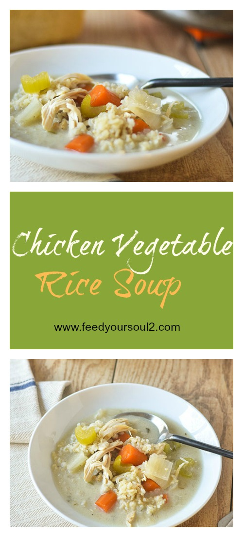 Chicken Vegetable Rice Soup #chicken #soup #vegetables #glutenfree | feedyoursoul2.com