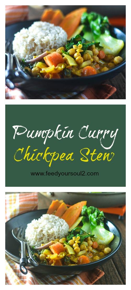 Pumpkin Curry Chickpea Stew #vegan #stew #curry #glutenfree | feedyoursoul2.com