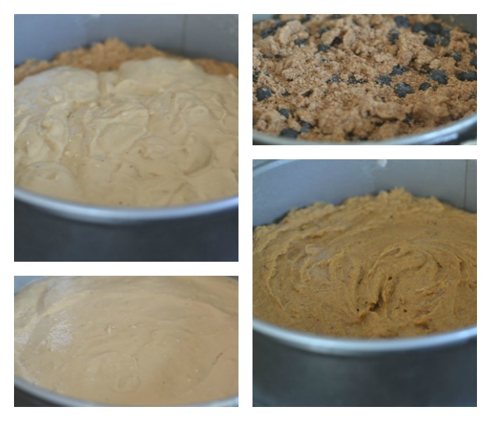 Cheesecake in the Preform Pan prior to and after Baking