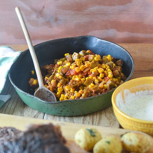 Cajun Mexican Okra & Corn #vegan #Cajunfood #glutenfree | feedyoursoul2.com