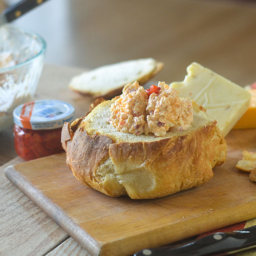Pimento Cheese in Bread Bowl from Feed Your Soul Too
