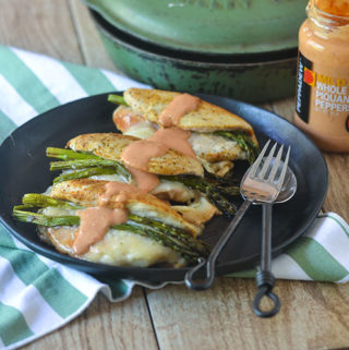 Asparagus Cheese Stuffed Chicken topped with Piquante Sauce