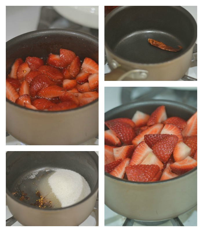 Making the Spicy Strawberry Sauce