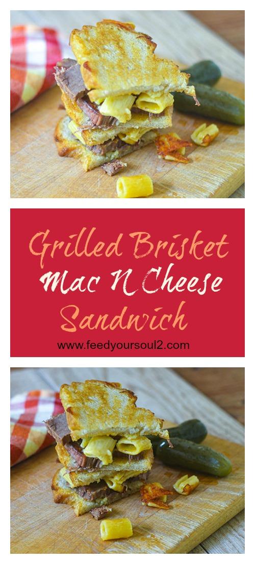 Grilled Brisket Mac N Cheese Sandwich #sandwich #brisket #macncheese | feedyoursoul2.com