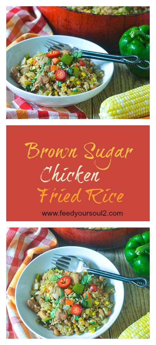 Brown Sugar Chicken Fried Rice l #Caribbeanfood #chicken #rice #onepotmeal | feedyoursoul2.com