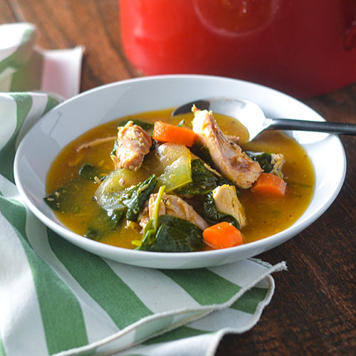 Smoked Chicken & Spinach Soup from Feed Your Soul Too
