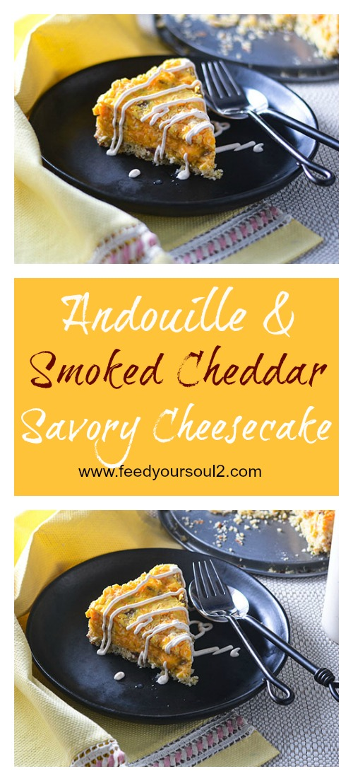 Andouille & Smoked Cheddar Savory Cheesecake l #glutenfree #cheese #Southernfood #appetizer | feedyoursoul2.com