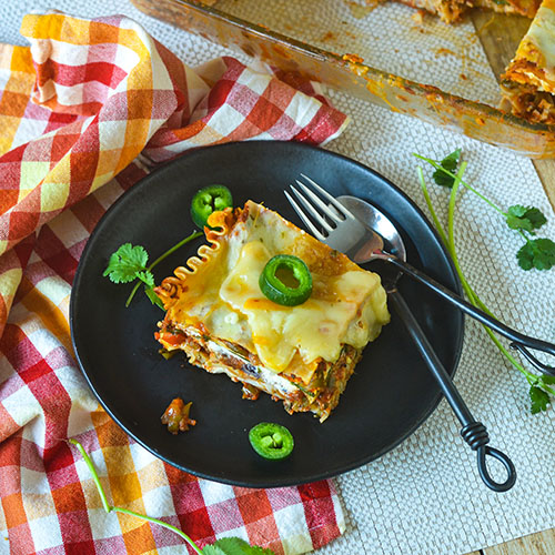 GF Mexican Vegetable Lasagna l #lasagna #glutenfree #Mexicanrecipe | feedyoursoul2.com