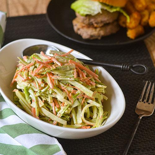 Broccoli Stem Cole Slaw l #coleslaw #vegetarian #glutenfree | feedyoursoul2.com