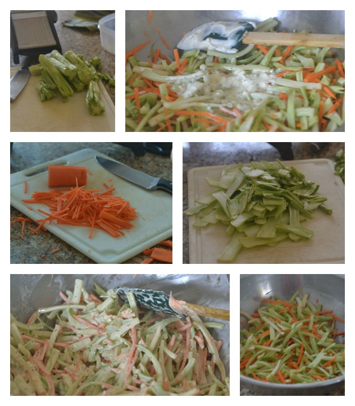 Cutting the Broccoli stems for the slaw.