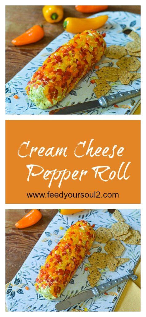 Cream Cheese Pepper Log l #appetizer #creamcheese #peppers  #glutenfree | feedyoursoul2.com