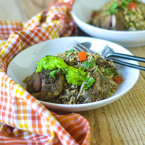 Jerk Chicken Fried Rice l #jerk #chicken #friedrice #glutenfree | feedyoursoul2.com