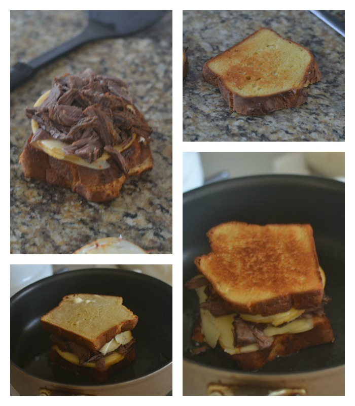 Building and grilling the brisket cheese sandwich