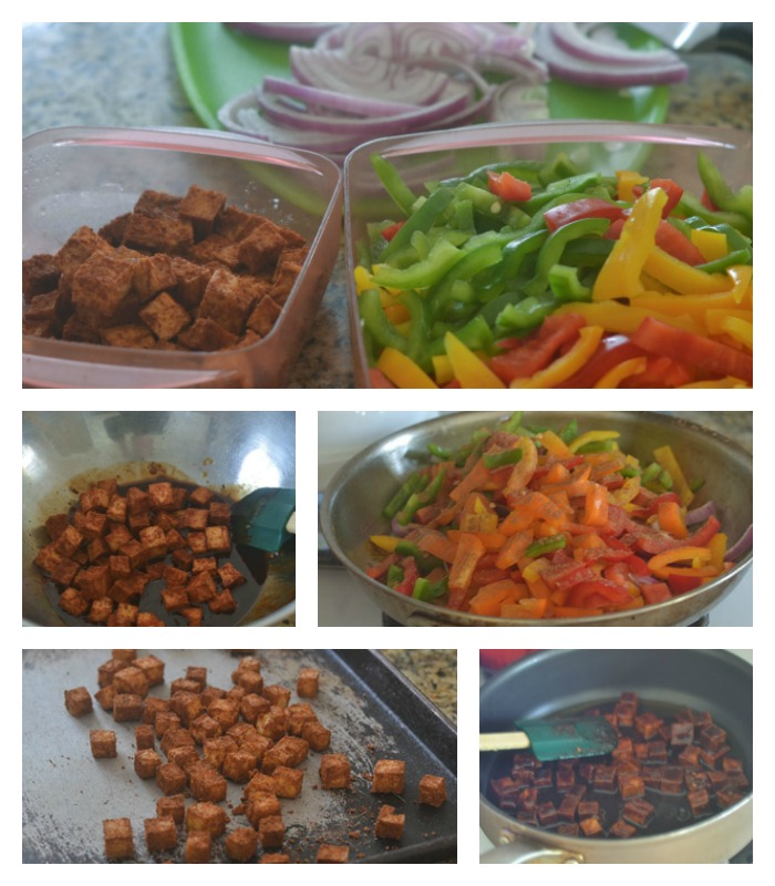 Flavoring the vegetables and tofu.