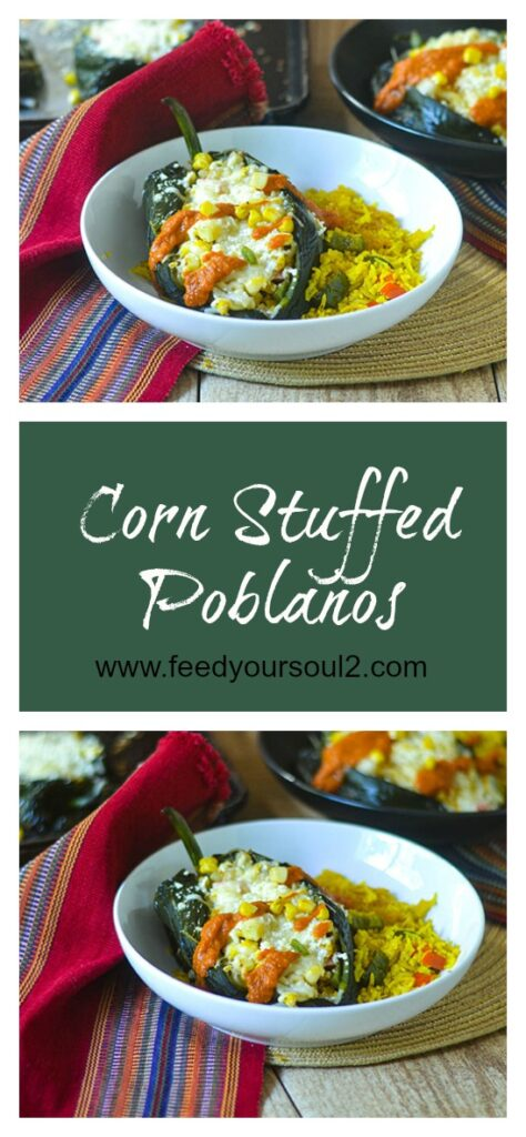 Corn Stuffed Poblanos l #glutenfree #Mexicanfood #cheese #poblanos | feedyoursoul2.com