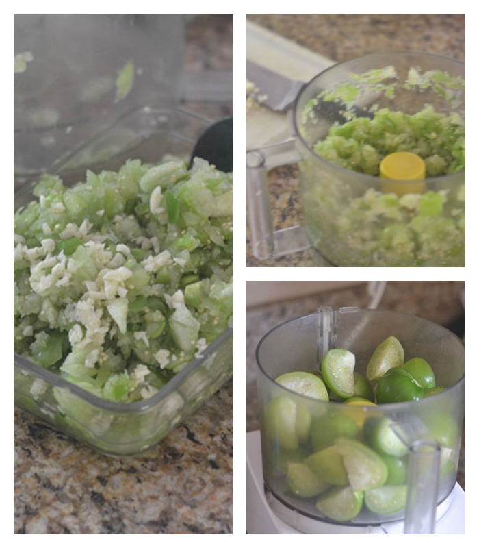 Tomatillos Processed and Garlic Added
