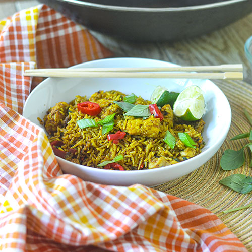 Chicken Curry Fried Rice l #rice #chicken #Indianfood   feedyoursoul2.com
