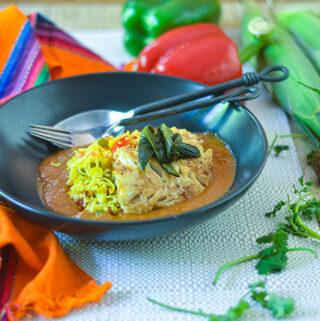 Cod over Ancho Tomato Sauce