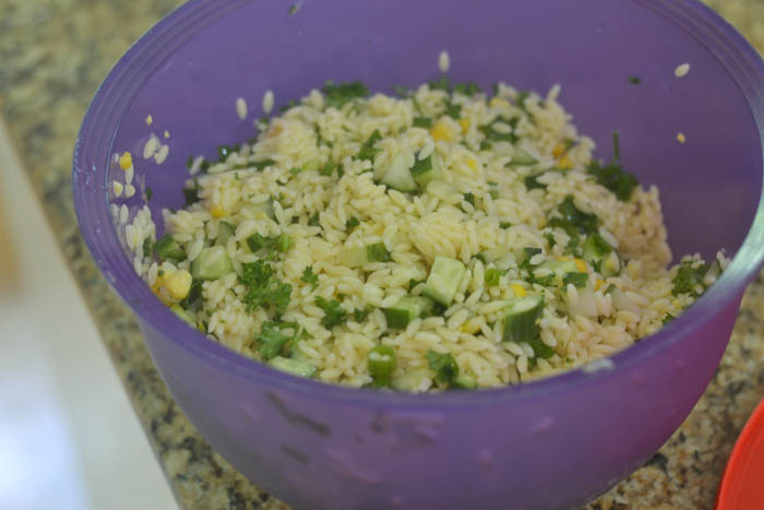 Prepping the Orzo Salad