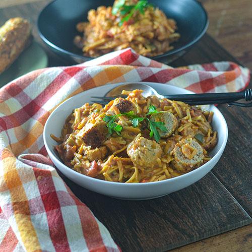 Seafood Sausage & Pasta l #seafood #pasta #cajun #glutenfree | feedyoursoul2.com