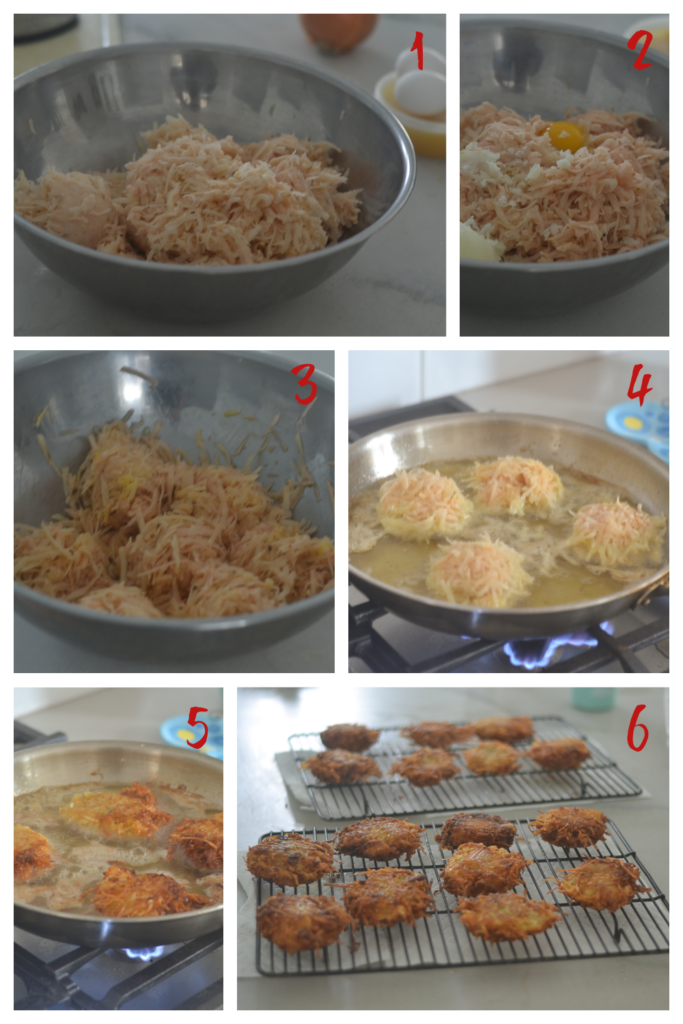Creating and Pan Frying the Potato Latkes