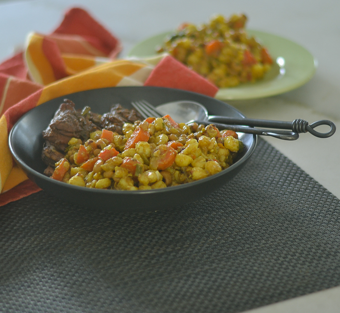 Black Eyed Pea & Hominy Curry l #curry #glutenfree #vegan | feedyoursoul2.com
