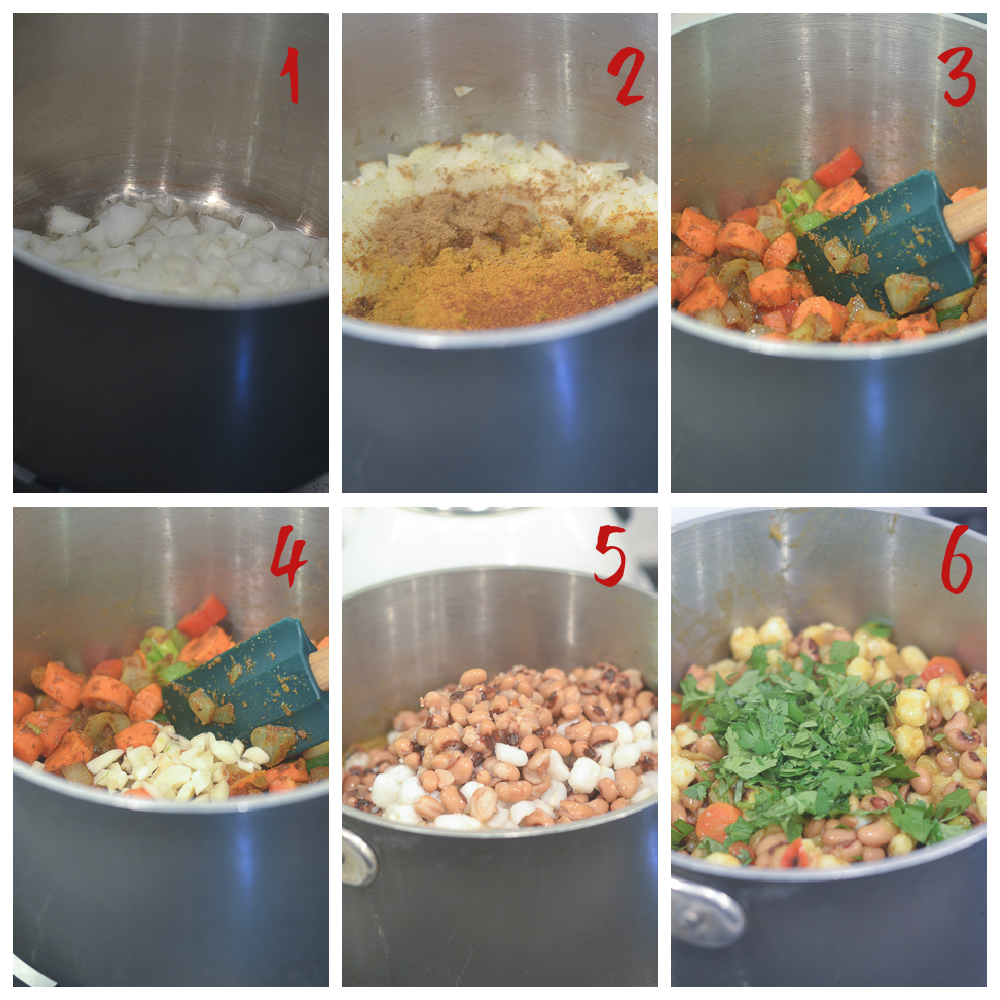 Making the Black Eyed Pea Curry