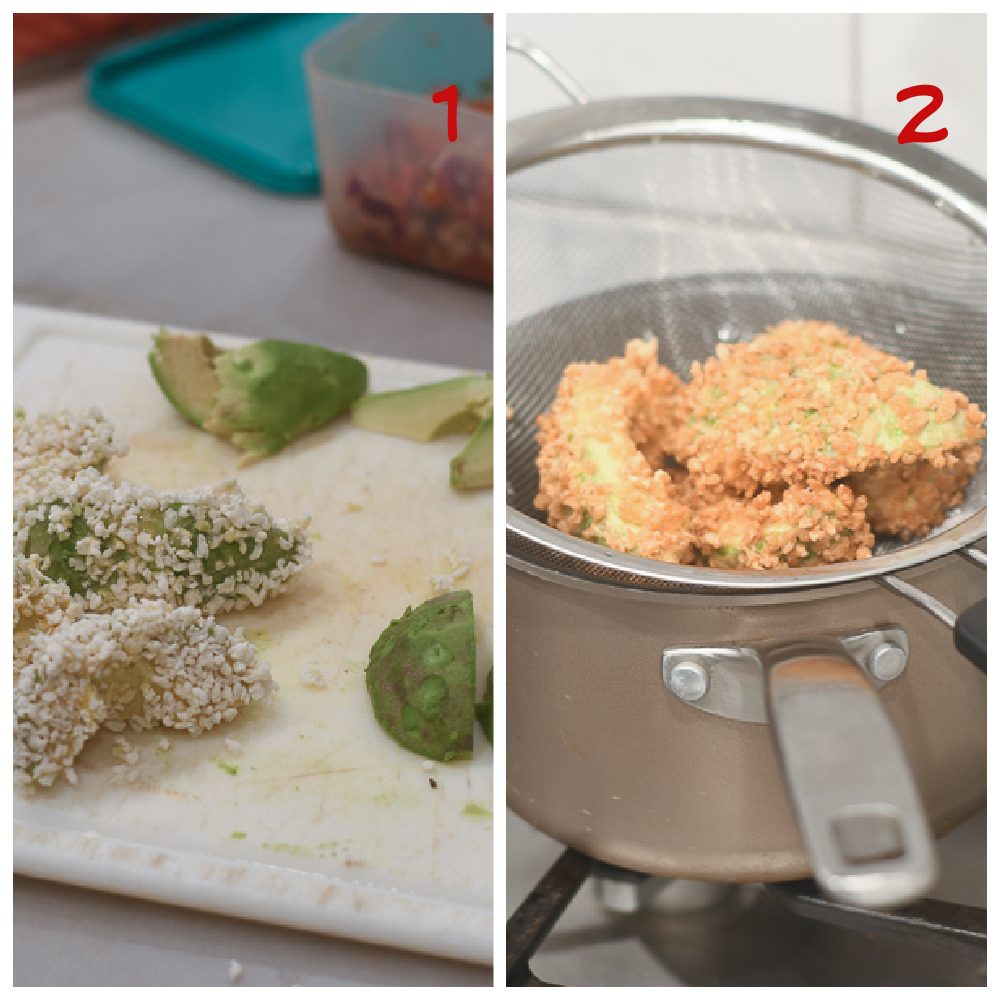 Dredging and frying the avocado fries