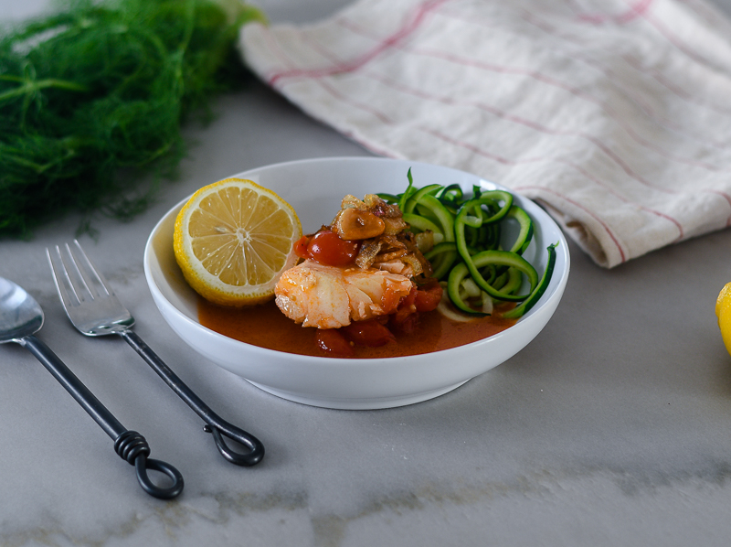 Cod in a Tomato Broth l #seafood #glutenfree #poaching  | feedyoursoul2.com