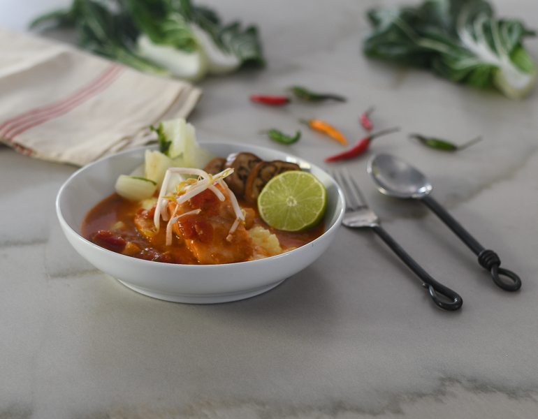 Tomato Ginger Poached Cod l #seafood #glutenfree #poaching  | feedyoursoul2.com