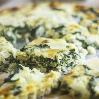 Irish White Cheddar Cheese Spinach Crust Less Tart